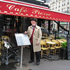 Our first morning in Paris: Pat at the cafe on one corner of Place de la Republique, near our hotel.