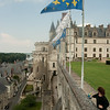 The château, rising above town: At the château of Amboise, towering over the city of the same name, in the Loire Valley, France. Amboise was a favorite of the old Orleans branch of the Bourbon monarchy of France.