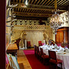 Chateau des Ducs de Brissac. Note the sets of antlers on the wall of this dining room.