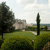 The château from its gardens: At the château of Amboise, towering over the city of the same name, in the Loire Valley, France. Amboise was a favorite of the old Orleans branch of the Bourbon monarchy of France.