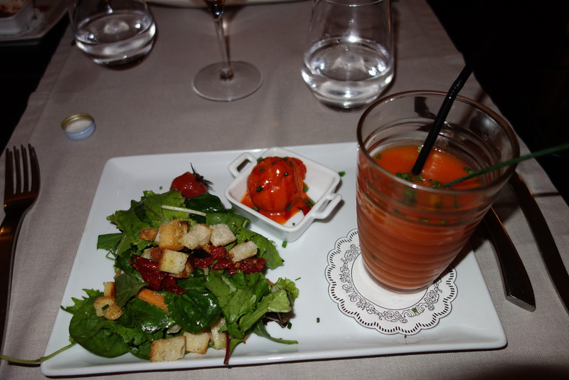 My appetizer was gazpacho, salad and red pepper sorbet!  Yumm.