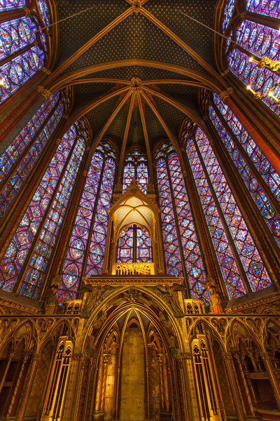The beautiful stained glass inside Sainte-Chapelle.
