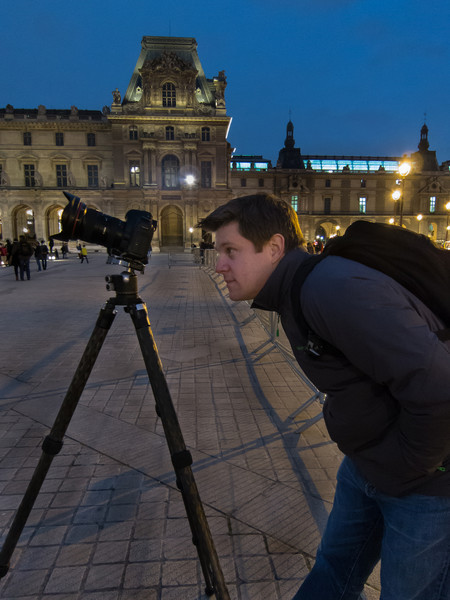 Setting up for some nighttime long exposures at the Louvre to make some of the crowds disappear.
