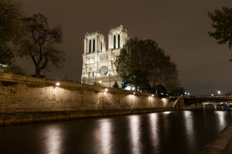 Long exposure of Notre Dame down by the river. Too bad the sky never changed from this overcast grey for our entire trip.