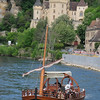 tour boat on the Dordogne at La Roque-Gageac.