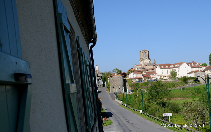view from our window, looking toward the town center of Vouvant, a town of 900 in the Vendee region of western France.