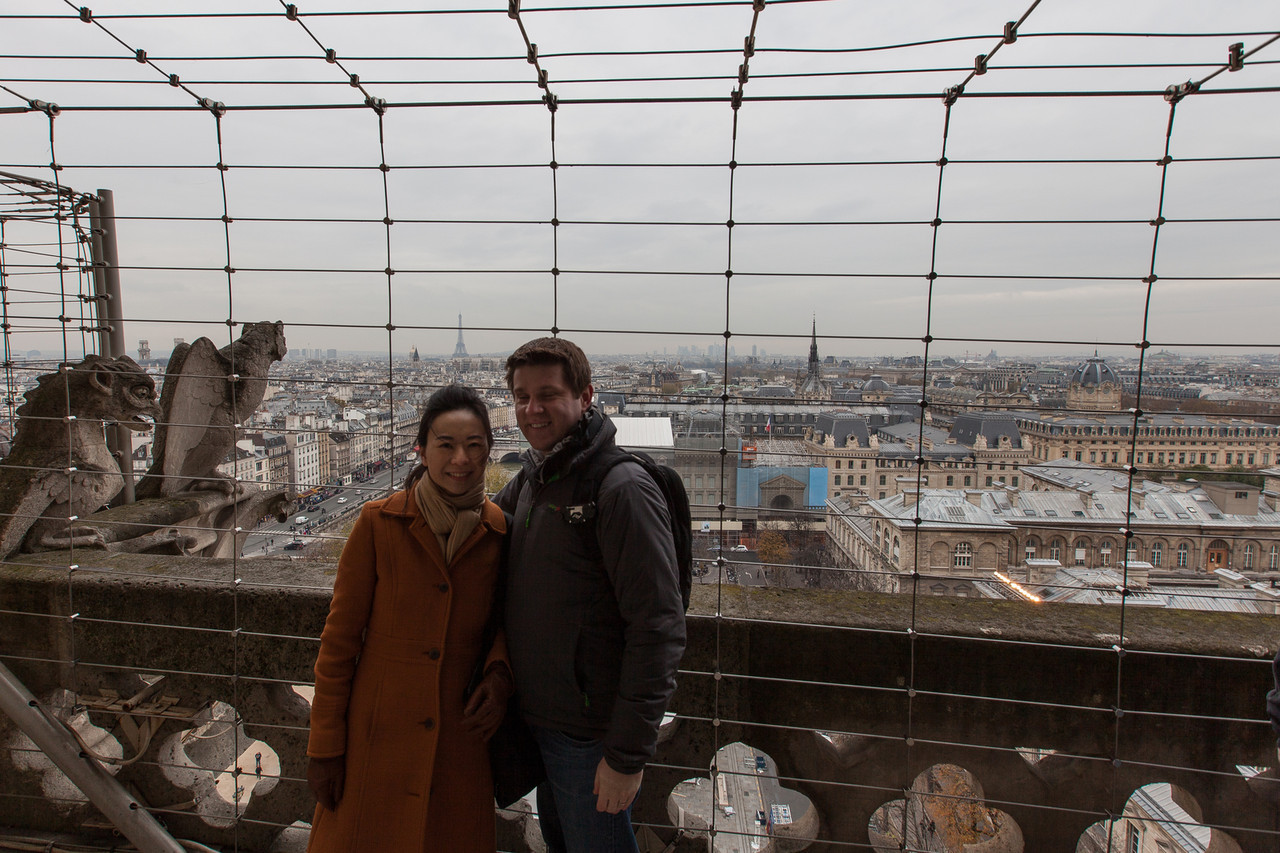 Staying warm during the climb of Notre Dame - they were working on the bell towers, so this is as high as they'd let us go. Of course I closed my eyes. :)