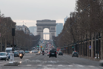 Arc de Triomphe and the Champs Elysee.