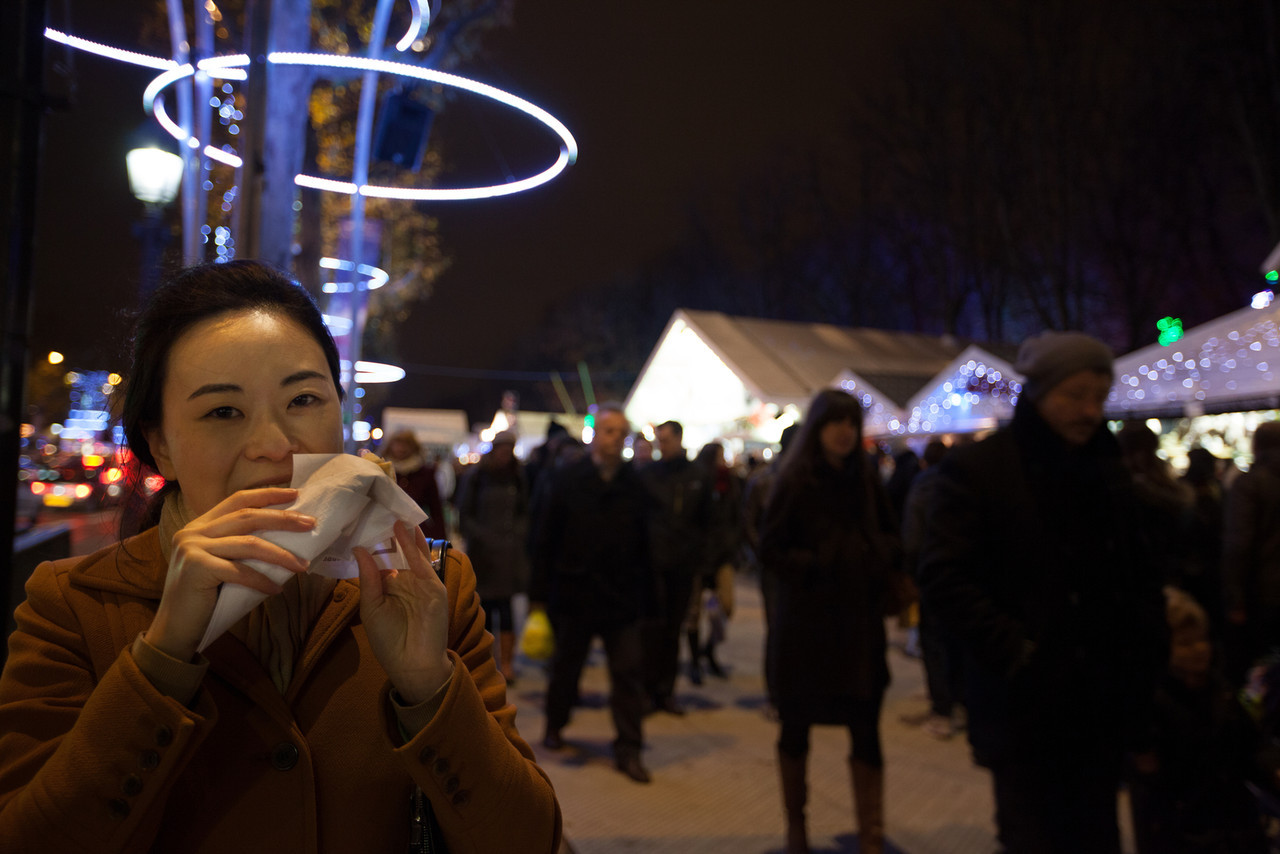 Parisian crepes on the Champs-Elysees with about a million of our closest friends out for the Christmas Market.