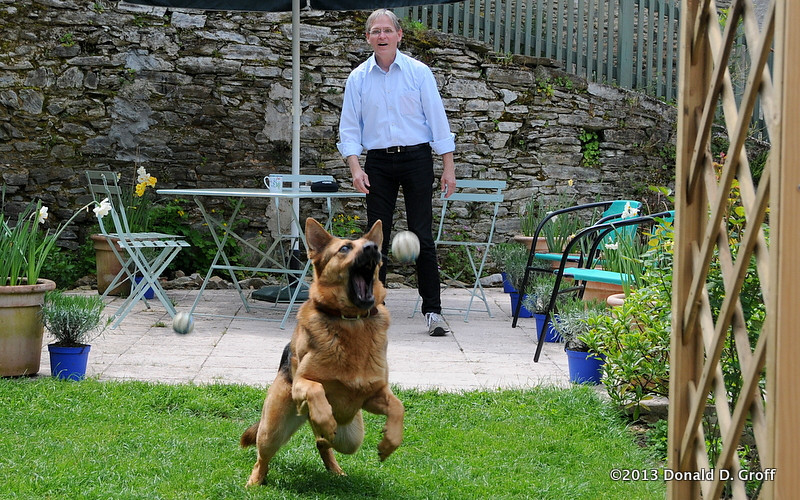 Michael with Tess the fetch-aholic dog.