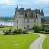The Chateau de Amboise is built atop walled ramparts overlooking the Loire River.