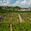 Formal gardens of clipped box represent allegories of Love.<br /> This also shows 2 of the 3 levels of the restored formal Renaissance gardens<br /> at Chateau de Villandry.