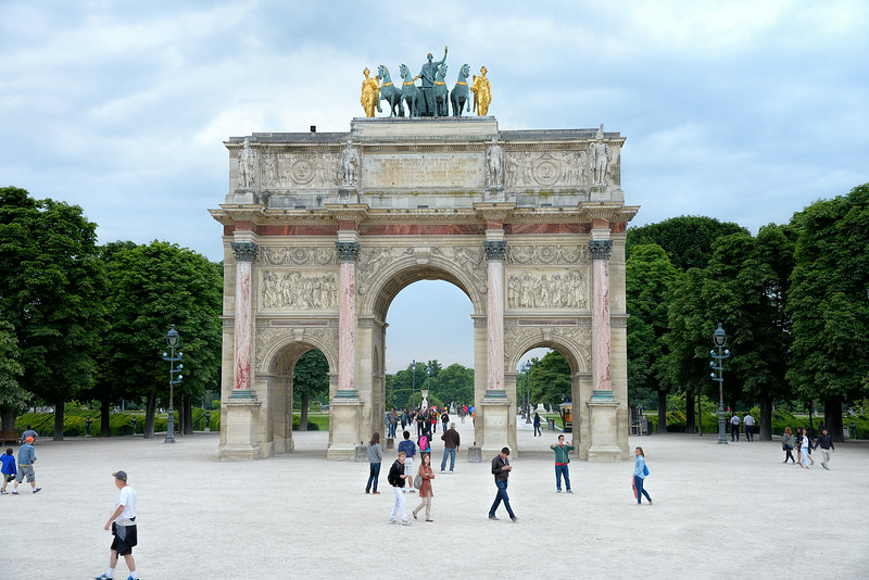 The Arc de Triomphe du Carrousel is a triumphal arch in Paris, located in the Place du Carrousel on the site of the former Tuileries Palace. It was built between 1806 and 1808 to commemorate Napoleon's military victories of the previous year. <br /> June 1, 2014