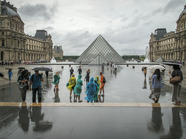 You can see the multi-hour line on the left to get into the main entrance of the Louvre.  Thanks to our guide Paul, we learned a secret entrance that allowed us to walk right in with no wait.