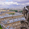 Le Stryge, one of the grotesques of Notre Dame Cathedral gazes across Paris