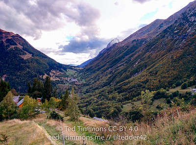 Looking up to Col d'Ordon. The road is visible; the last visible village is where I'm staying.