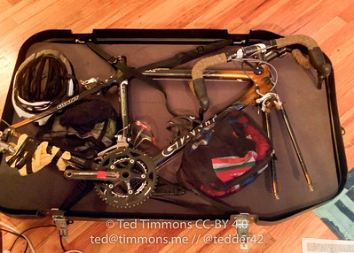 Bike, mostly packed. Some clothes are packed into the case too.