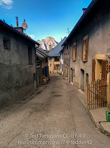 Looking down through the village.
