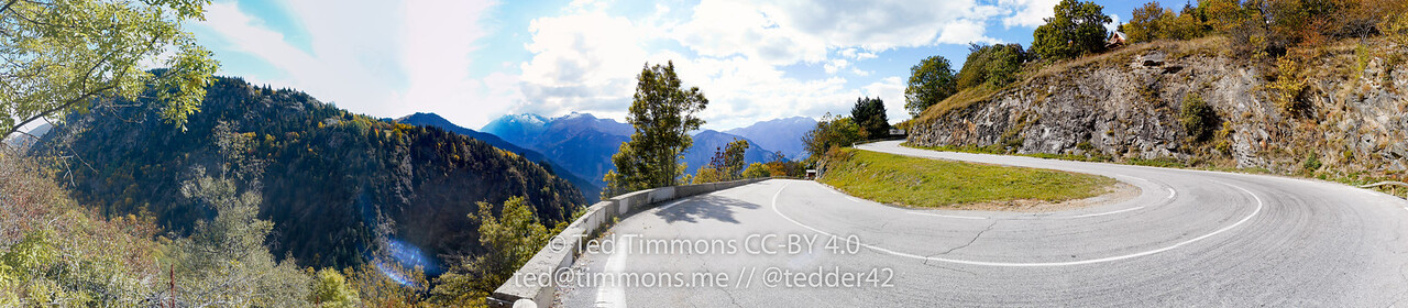 Panorama while climbing Alpe d'Huez. The neighboring mountains are pretty as well.