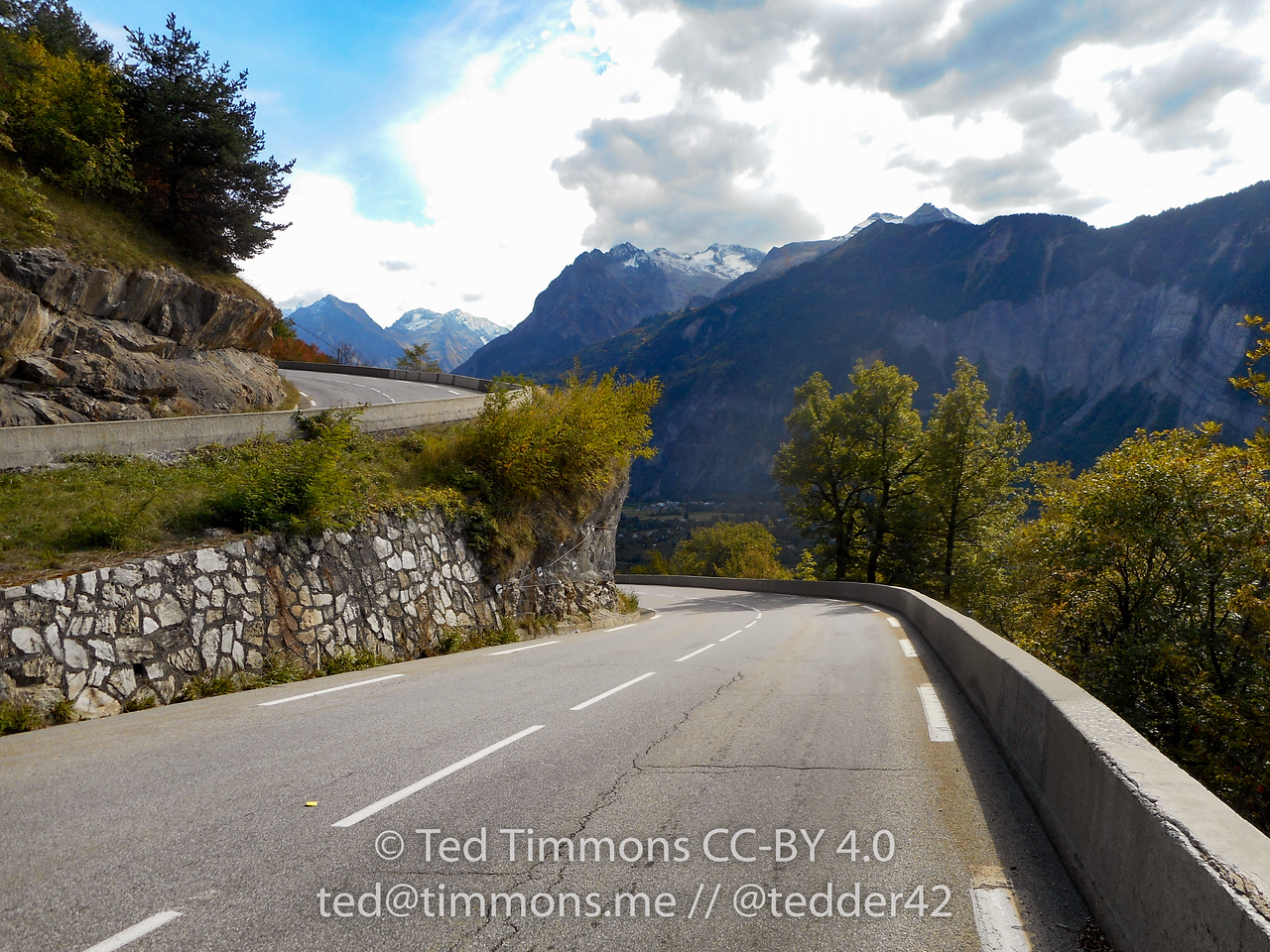 Looking up and down the ramps of Alpe d'Huez.