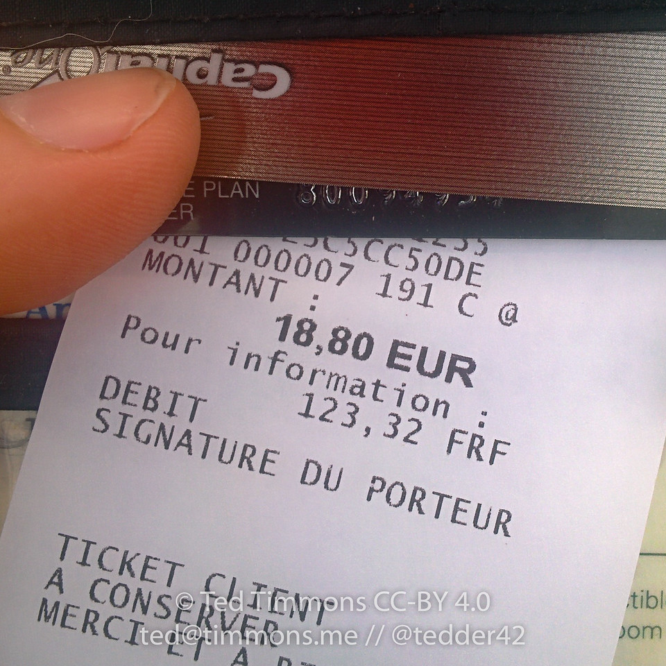 The receipt includes a conversion to francs- which went out of circulation over 10 years ago. Apparently some people (especially old people) still think in terms of the franc.