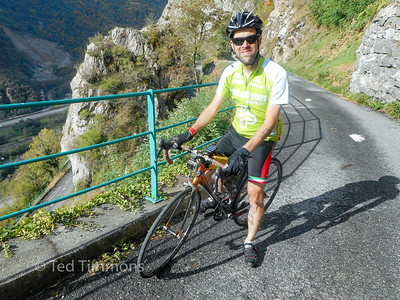 Ted on the Lacets de Montvernier.