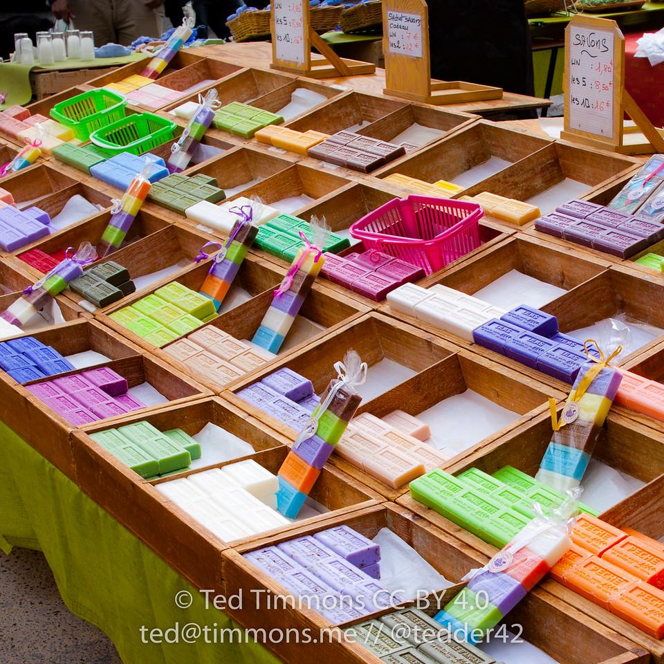 colorful soap bars at Nyons market