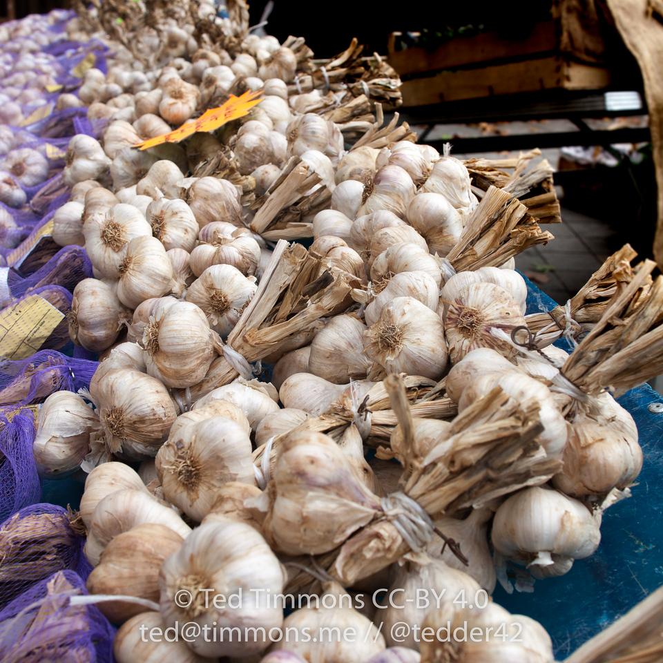 bundles of garlic at Nyons market