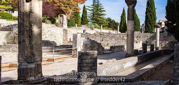 columns and walls of the Roman ruins in Vaison-la-Romaine