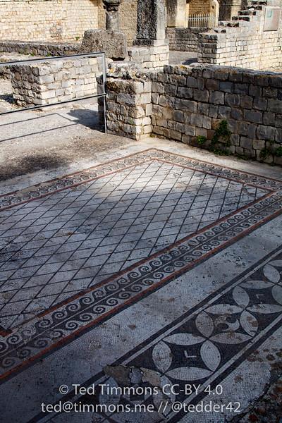 mosaic at Roman ruins in Vaison-la-Romaine