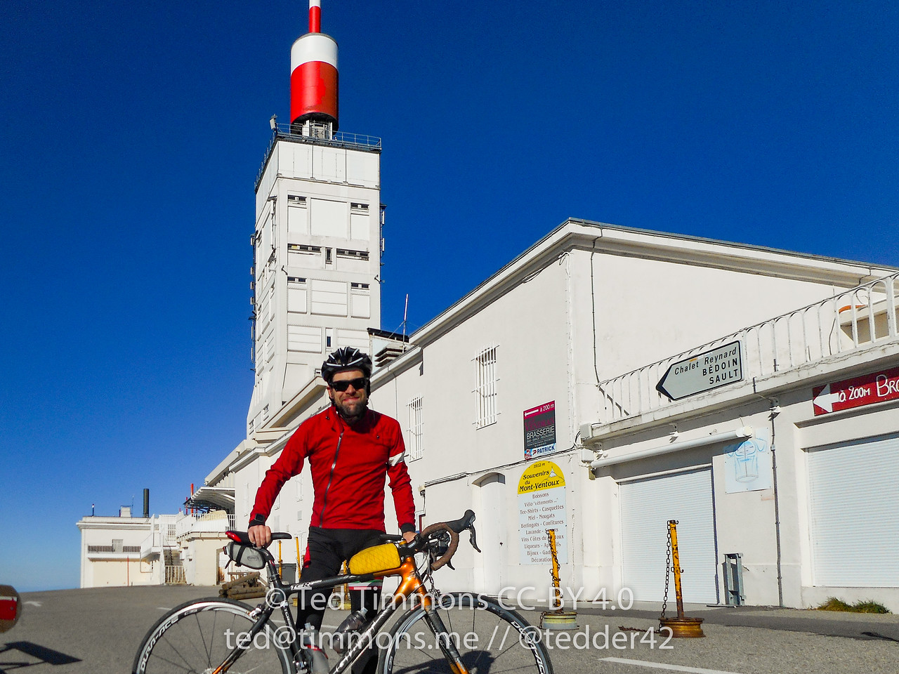At the top of Ventoux, the first of three times.