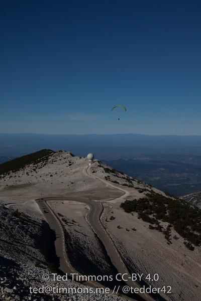 Paraglider soaring over Mt Ventoux.