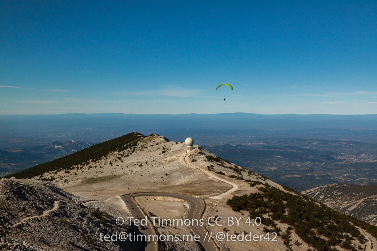 At summit of Mt Ventoux, paragliders took off from the top of the mountain.
