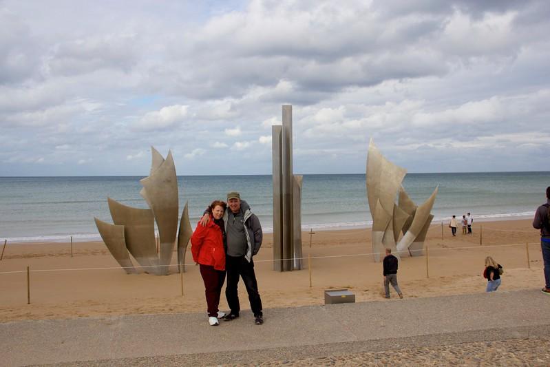 Jeri & John, Omaha Beach Monument