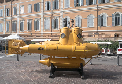 "Outside the Oceanographic Museum of Monaco - one of the small deep diving subs.  Of course, the opposite side has ""we all live in a yellow submarine"" on it..."