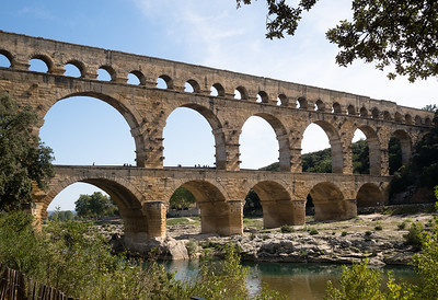 The Pont du Gard Roman aqueduct.  Built in the first century AD to bring water to the city of Nîmes.