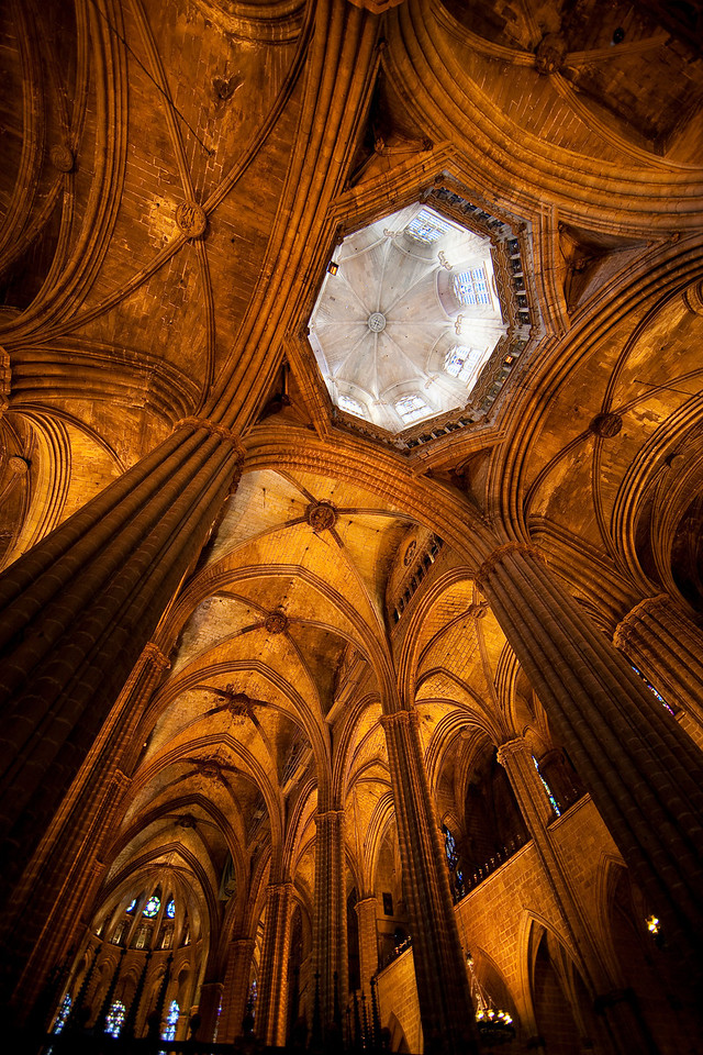 Inside the gothic cathedral. I love the rich colors.