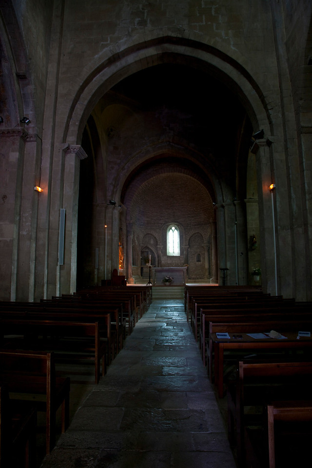 Inside the Romanesque church in Vaison la Romaine.