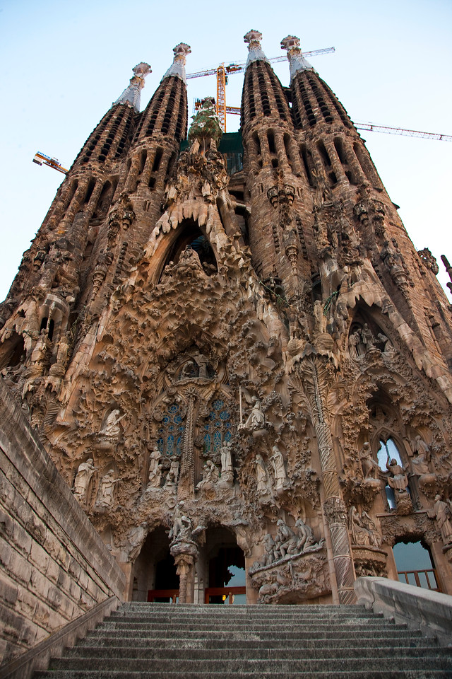After Nîmes I got in my car and drove to Barcelona. This is the fantastic Sagrada Familia. Due to crappy planning on my part, I arrived just in time to miss the best light, but the cathedral is truly amazing. It's been under construction for well over a hundred years. I love the stylized sculptures; I've never seen anything quite like it.