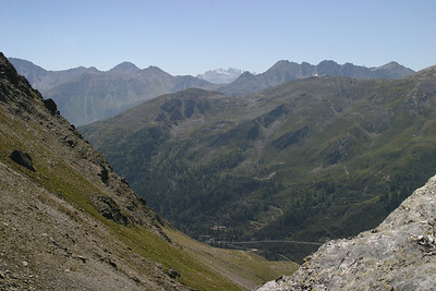 Looking down from the Great St. Bernard Pass into Italy.