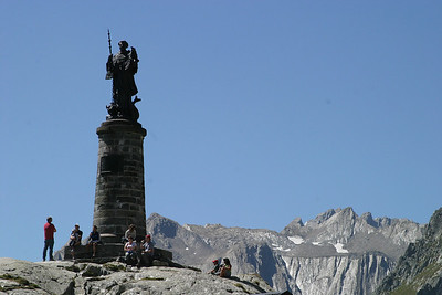 Monument to Pope Piux XI on the Italian side of the Great St. Bernard Pass.