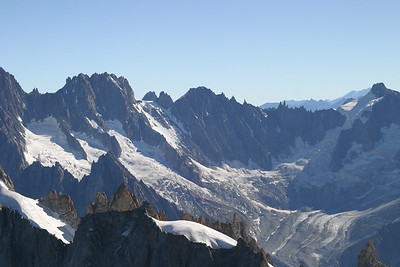Upper reaches of the Glacier de Talèfre, under Les Droites and Mont Dolent, from the Aiguille du Midi