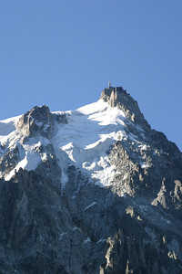 The Aiguille du Midi (12605 ft) from the mid-station at the Plan de l'Aiguille (7600 ft).