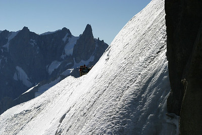 Climbers at the exit gate from the Aiguille du Midi station