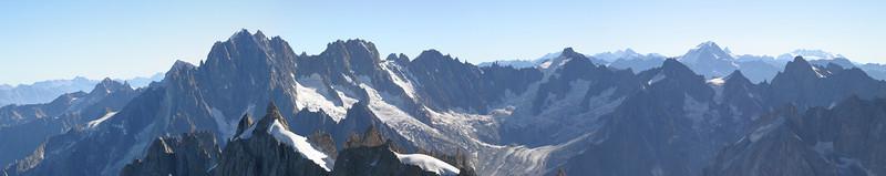 L'Aiguille Verte, Les Droites, Mont Dolent, L'Aiguille de Talèfre, Grand Combin, and Monte Rosa, from the Aiguille du Midi