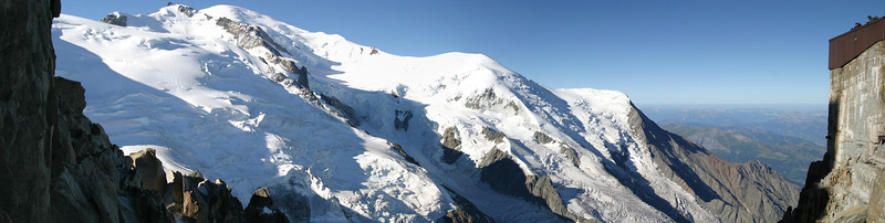 The upper slopes of Mont Blanc from the Aiguille du Midi
