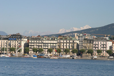 Mont Blanc behind the Left Bank waterfront, from Geneva's Right Bank