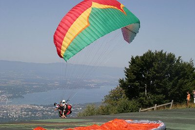 Paragliders taking off from Salève.