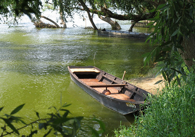 "Boat on the Loire River near Vouvray, France. Canvas print available, with gallery wrap mounting, 18""x24"""