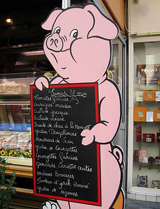 Invitation to pig out, Rue Cler, Paris, France